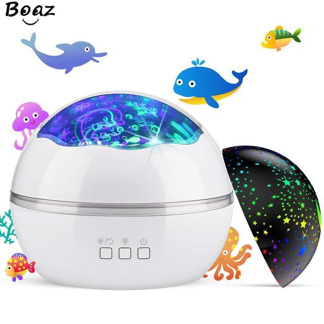 אוקיינוס מנורת שמי זרועי הכוכבים מסתובב מקרן לילה אור ילדי ילד תינוק שינה LED לייזר מקרן עבור שינה USB מנורת מקרן