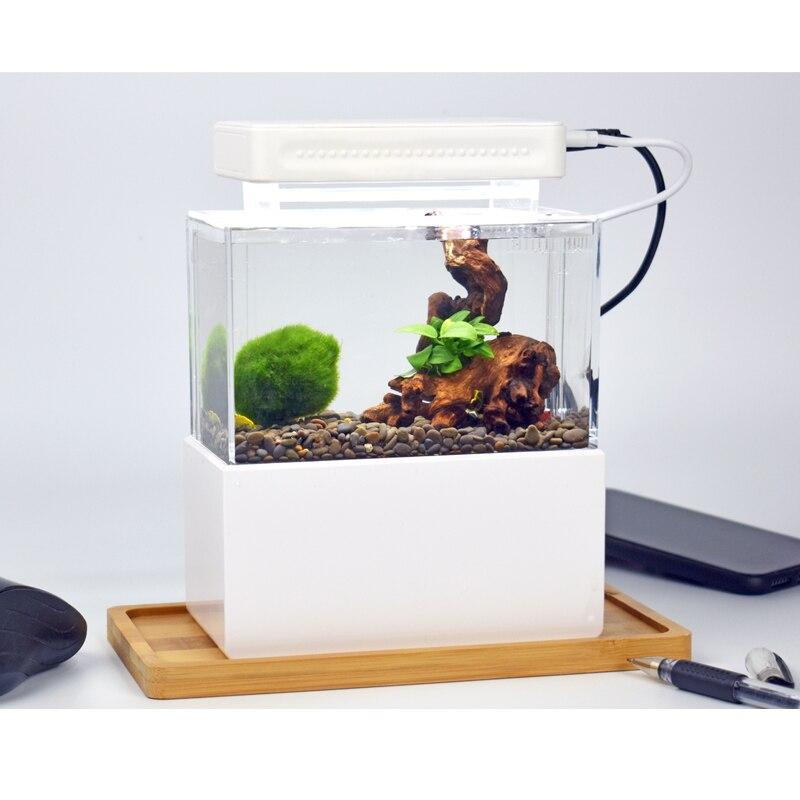 Mini réservoir de poisson en plastique Portable Aquarium de bureau bol de poisson Betta avec Filtration de l'eau LED et pompe à Air calme pour la décoration - 4