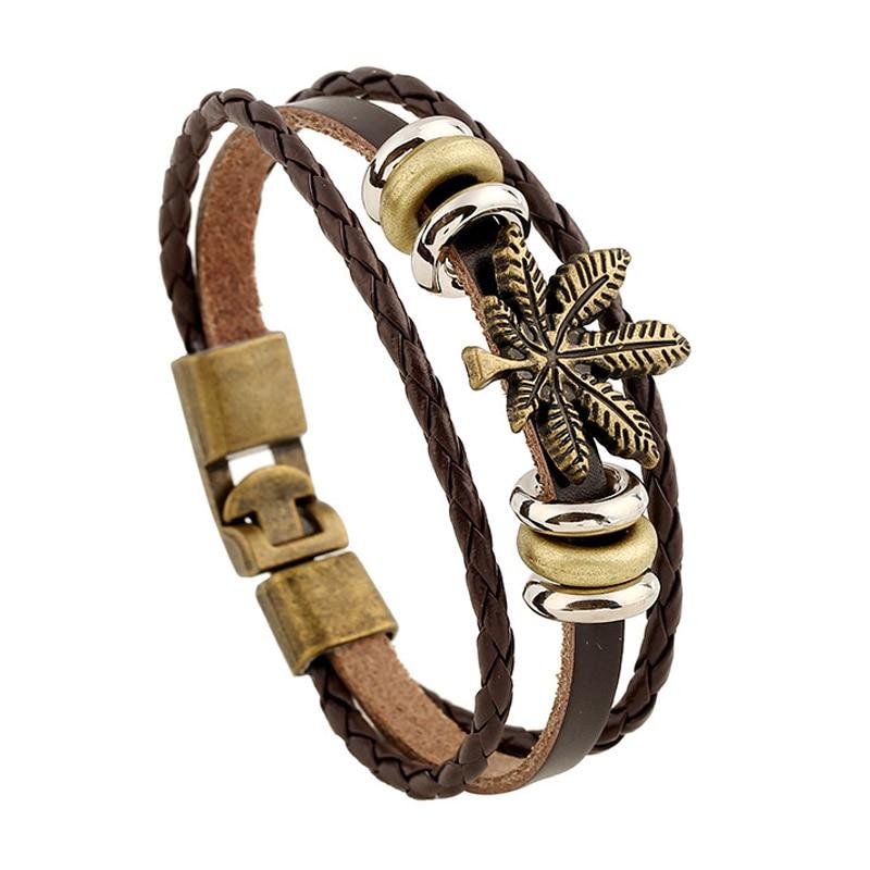 Fashion Winter Bracelet Men 3 Layers Leather Braided Beads Handmade Charms Bracelets Women Jewelry Maple Leaf Friendship Gift