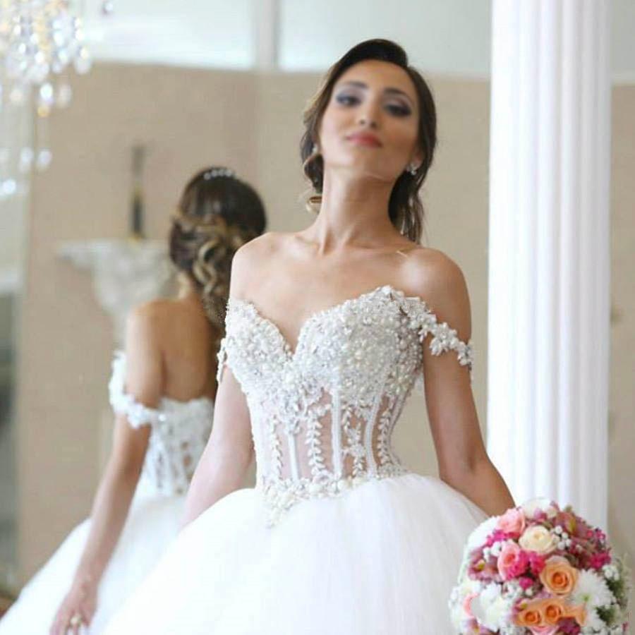 Vestido De Noiva Princess Sweetheart Wedding Dresses Pearl Beaded Illusion Tulle Corset Bride Gowns robe de