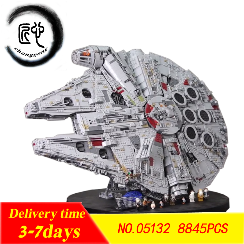 Nuevo Plan de estrellas último bloques de construcción Force Awakens Millennium Set Falcon modelo fit 75192 juguetes chico regalo de Navidad
