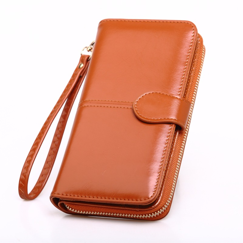 New Fashion Women Wallets Oil Wax Leather Ladies Purses Multifunctional Practical Designer Long Wallet For Female Daily Clutches in Wallets from Luggage Bags
