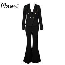 Max Spri  2017 New Arrival Deep-V Black Women OL Elegant Pant Suits Sexy Fashion Business Style