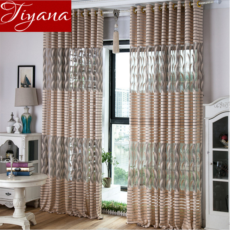 Striped Voile Jacquard Curtains Yarn Window Screen Modern Simple Living  Room Balcony Kitchen Curtains Tulle Custom