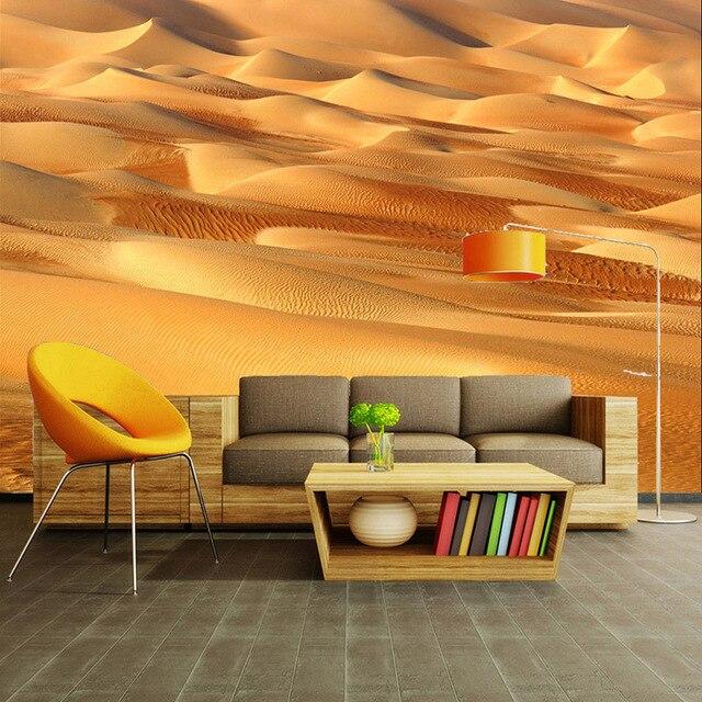 Nach 3D Stereo Wandbild Moderne Einfache Gelb Wüste Foto Tapete Thema Hotel  Restaurant Wohnzimmer Natur Wand