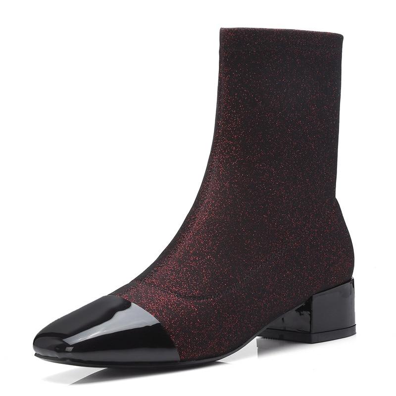 Cuero Mujeres Enmayer Black Zapatos Tacones Cuadrado De Botas Moda Gruesos Las 34 Del Cr1151 khaki Tiro Peluche wine Dedo Pie Tamaño Invierno 39 Tobillo cIIdrq