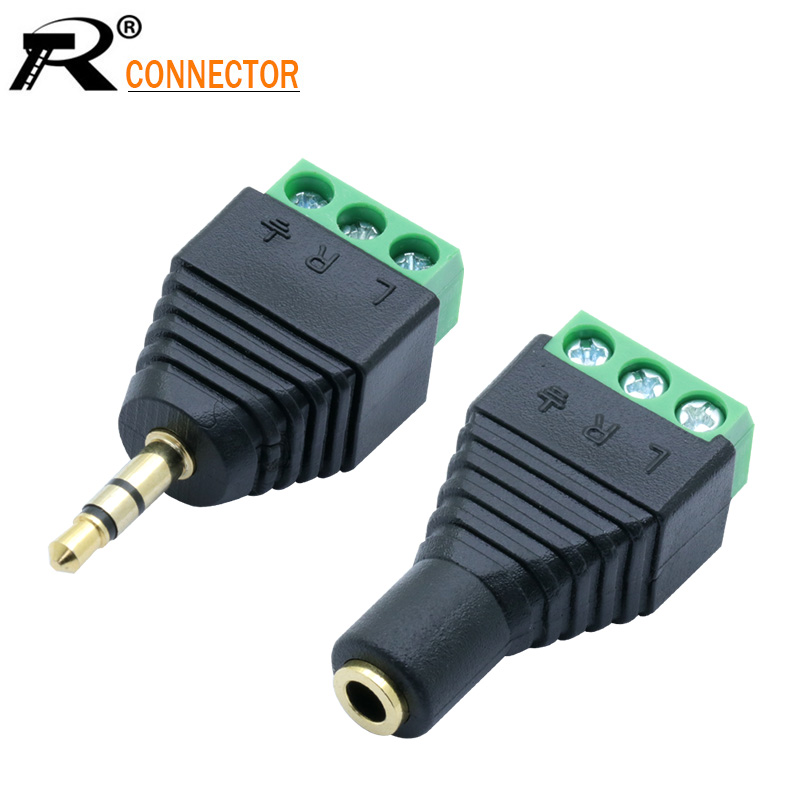 1set 3.5mm 3ploe 1/8 Inch Stereo Male Plug To AV Screw Video Balun Terminal Jack 3.5 Mm Male 3 Pin Terminal Block Plug Connector