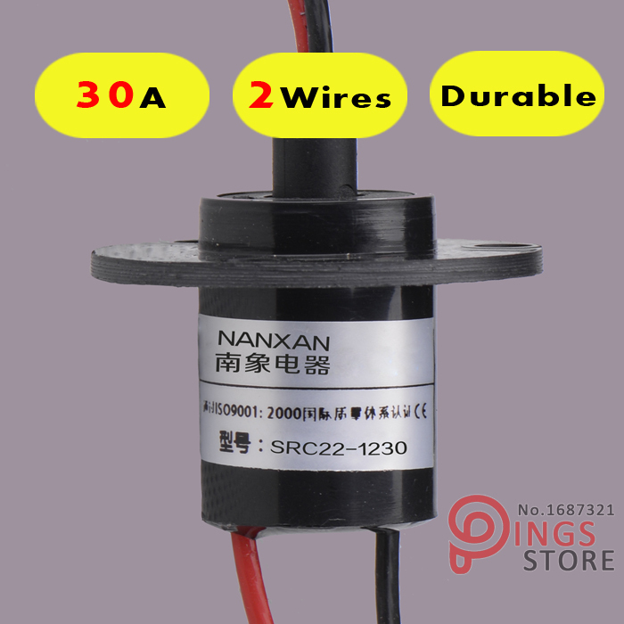 2 Wires/Circuits *30A 22mm wind generator slip ring , wind turbine slip ring ,Rotating Connector capsule slip ring