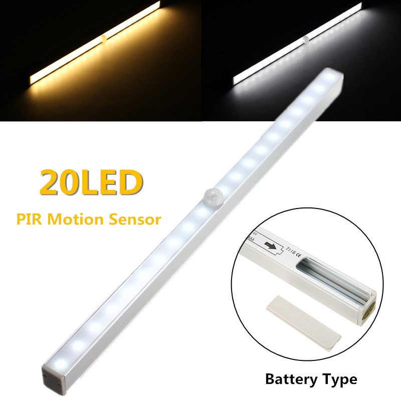 34CM 3 Modes Wireless PIR Motion Sensor 20 LED Bar Light Battery Powered LED Strip Lamp Under Cabinet Night Light DC9V