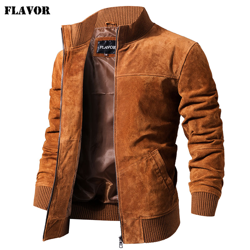 FLAVOR Men's Real Leather Jacket Men Pigskin Slim Fit Genuine Leather Coat With Rib Cuff Standing Collar