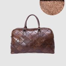 a27fb4b8fa88 CARANFIER bolsas de viaje para hombre de cuero genuino de las mujeres  maletas Plaid Vintage gran