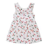 Summer New Kids Girls Little Cherry Printed Princess Dresses Fashion Behind the Bow Sleeveless Vest Dress
