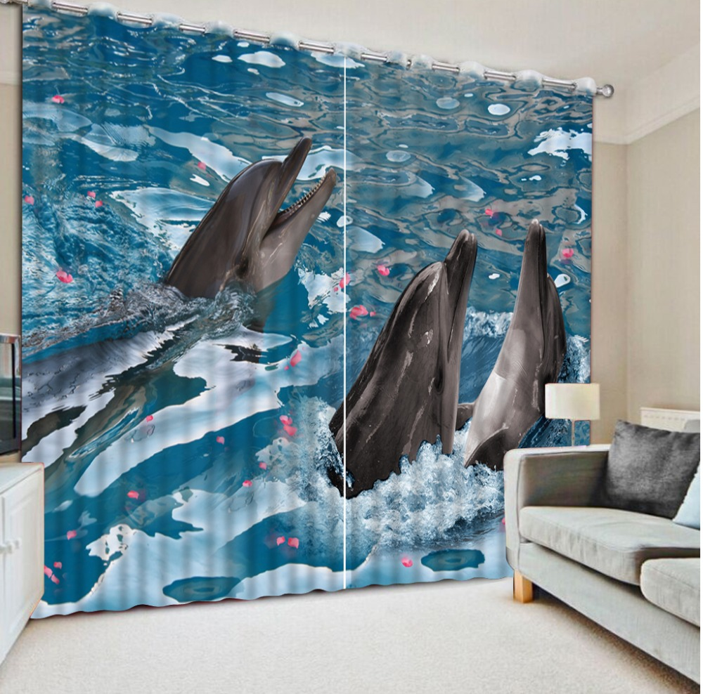 Customized size Luxury Blackout 3D Window Curtains For Living Room ocean dolphin curtains Customized size Luxury Blackout 3D Window Curtains For Living Room ocean dolphin curtains