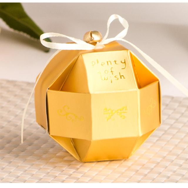 100pcslot Gold Unique Ball Candy Box Diy Wedding Gift Box