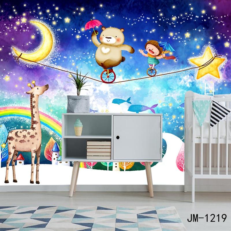 Star moon rainbow bear child bedroom non-woven wallpaper cartoon children room background wall paper fantastic mural household