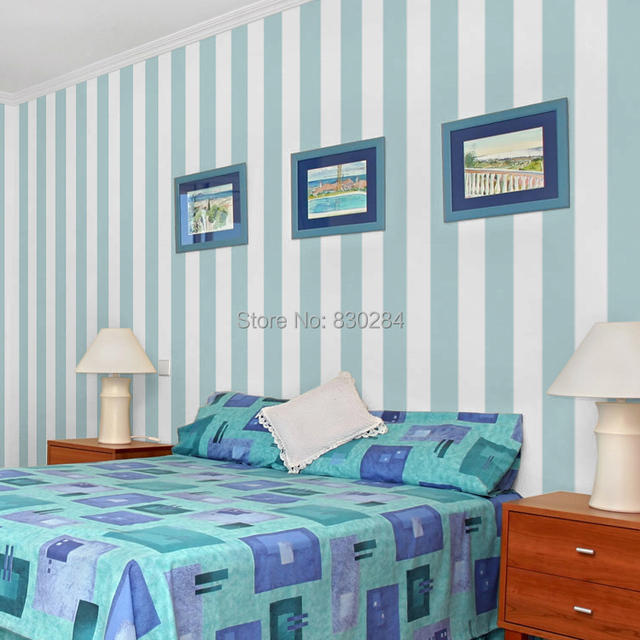 Stripe Wallpaper Roll White Striped Wall Paper Modern Blue Stripes Living Room Wallpapers Non Woven Bedroom Background