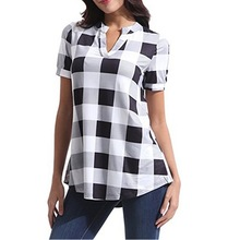 chic women blouse costume female ladies new womens  plaid printed sexy v-neck short sleeve top shirt