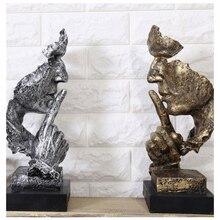Креативный мыслитель статуи Ретро абстрактные персонажи фигурка не слушать/говорить/выглядеть миниатюрная скульптура домашний рабочий стол ремесло подарок