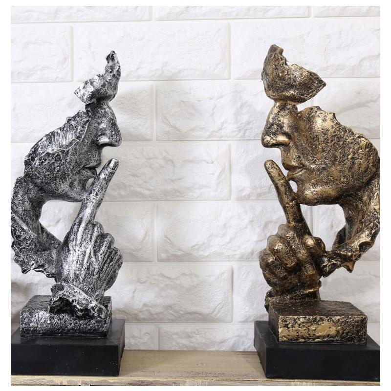 Statues de penseur créatif rétro personnages abstraits Figurine ne pas écouter/parler/regarder Sculpture Miniature maison bureau artisanat cadeau
