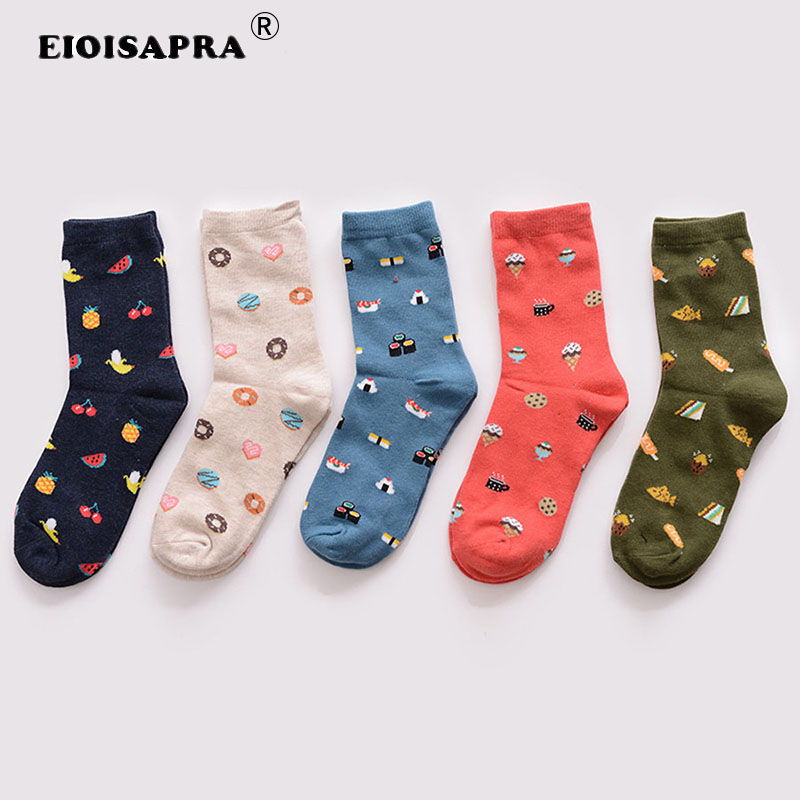 [EIOISAPRA]Harajuku Kawaii Sushi Fruit Donuts Ice Cream Sandwich Funny Socks Women Creative Cartoon Food Calcetines Mujer