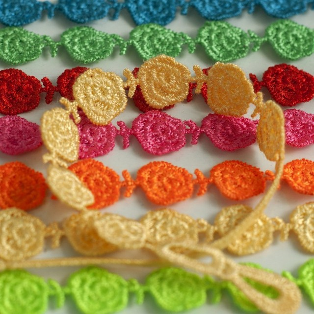 Abl0212 120 Handmade Multi Color Italy Lace Rose Flower Macrame