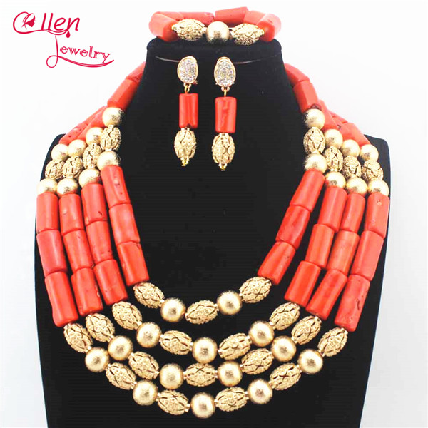 35e1c99ee9 US $32.2 30% OFF|Scarce nigerian Wedding beads bridal Big Coral beaded  necklace Jewelry Set African Coral beads Jewelry Set N0076-in Jewelry Sets  from ...