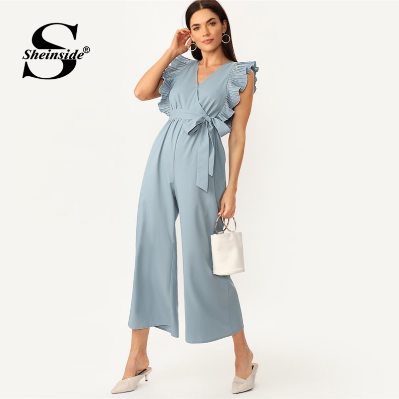 Sheinside Elegant Ruched Ruffle Edge Wide Leg   Jumpsuit   Women V Neck Wrap Belted   Jumpsuits   2019 Casual Flounce Sleeve   Jumpsuit