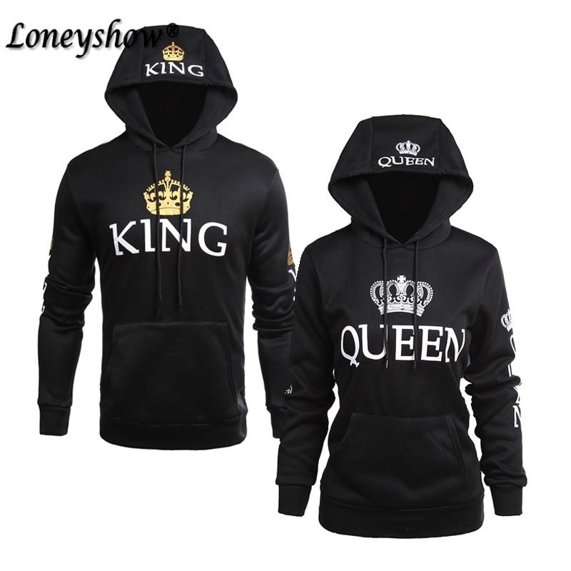2018 SPring King Queen Printed Hoodies Women Men Sweatshirt Lovers Couples Hooded Hoodies Sweatshirt Casual Pullovers