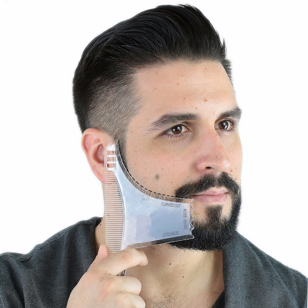 Best Beard Shaping Tool [8 In 1] Beard Comb Multi-liner Beard Shaper Template Comb Kit Transparent Works With Any Beard Razor