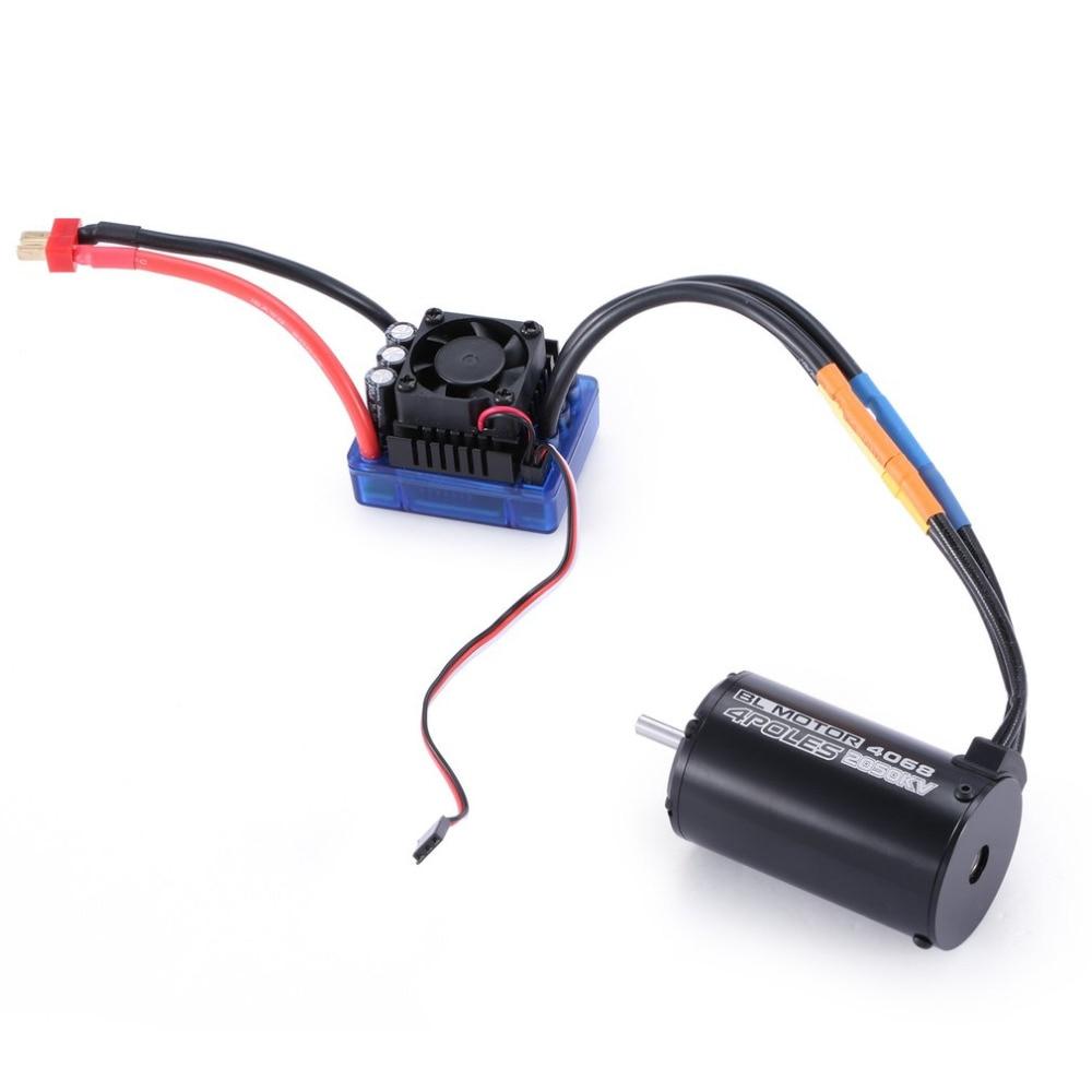 2050KV 4 poles Sensorless Brushless Motor 120A ESC with LED Programming Card Combo Set for 1/8 RC Car Crawler Truck Boat Parts 9t 4370kv 4 poles motor sensorless