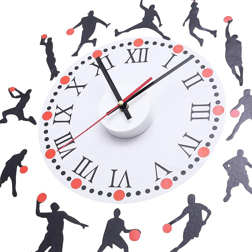 Pemain Basket Olahraga Sketsa Pola Roman Nomor Jam Dinding Kreatif