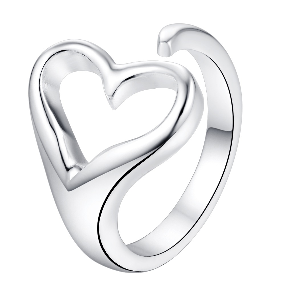 love heart shiny open Silver plated Ring Fashion Jewerly Ring Women&Men , /KPMFLVCI WPLTULUZ
