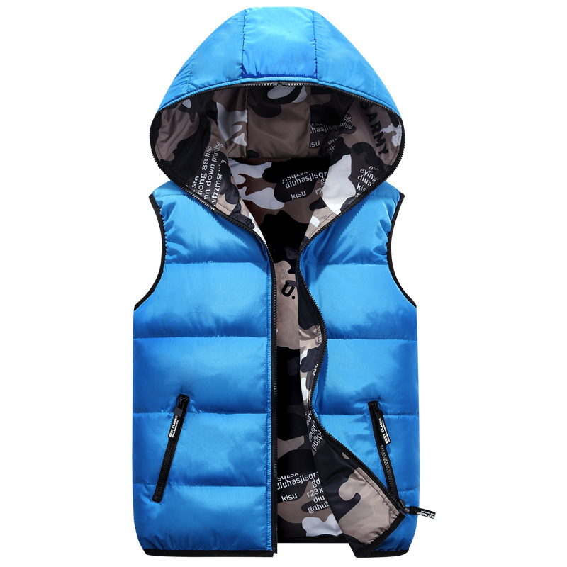 3-18years лет осенние и зимние детская одежда вниз хлопковый жилет с капюшоном камуфляжная одежда на обе стороны теплые Универсальные 7 цветов Лидер продаж