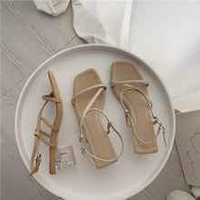 2019 Women Summer Sandals Crystal Square Heel Ankle Strap Open toe Narrow Band Casual Shoes