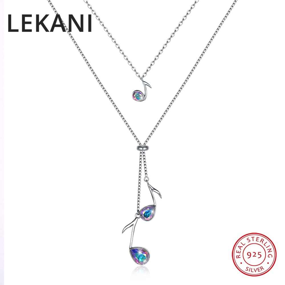 LEKANI Crystals From Swarovski Music Note Pendant Necklaces For Women  Romantic Christmas Gifts 925 Silver Double c5deefae5838