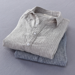 Image 3 - 2019 ניו הגעה גברים אופנה פס פשתן חולצה זכר מזדמן ארוך שרוול למעלה איכות נוזל Slim Fit חולצה בסיסית יבוא בגדים