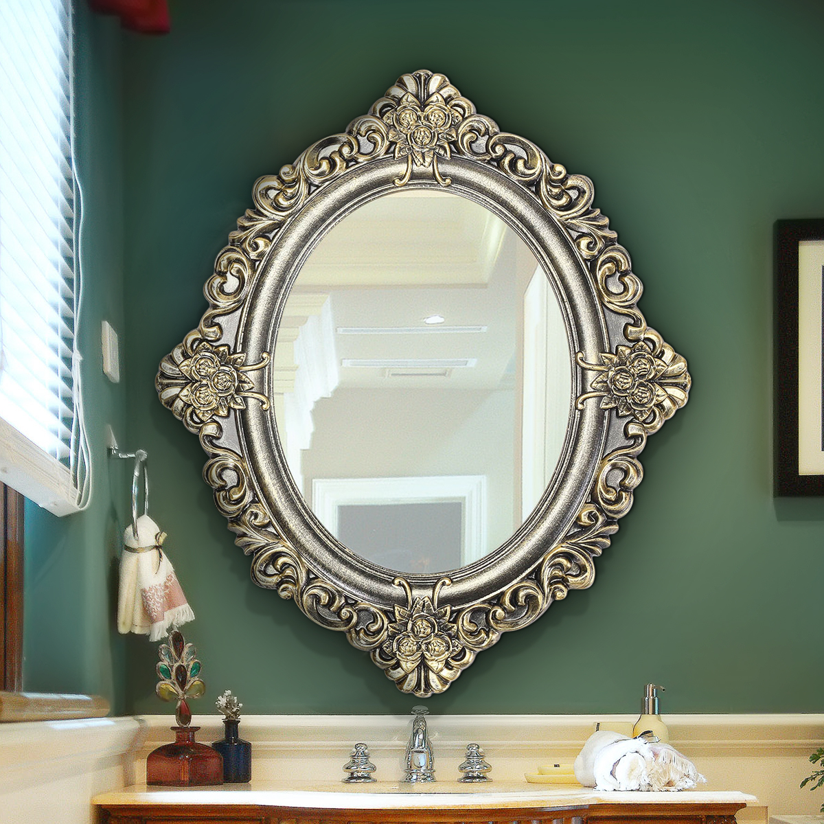 Retro Vintage Decorative Mirror 23 Inch Oval Wall Mouted