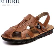 MIBU Mens Sandals Genuine Leather Summer 2019 New Beach Men Casual Shoes Outdoor Sandals Plus Size 38-44 Fashion shoes men все цены