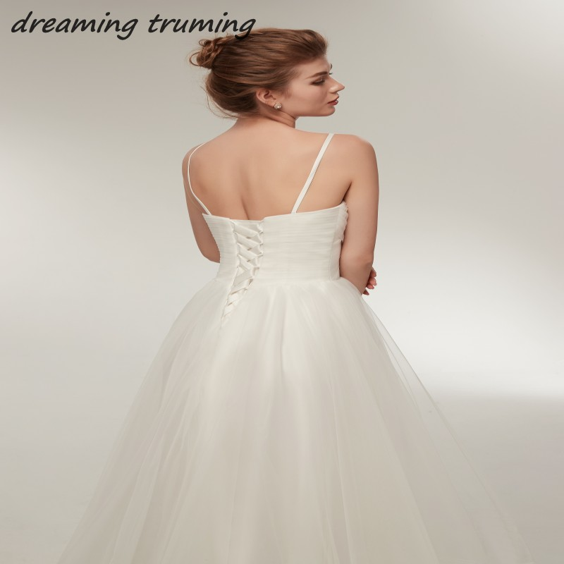 2018 Robe De Mariage High Low Wedding Dresses Spaghetti Straps Beach Summer Simple Bridal Gowns In Short Front And Long Back From