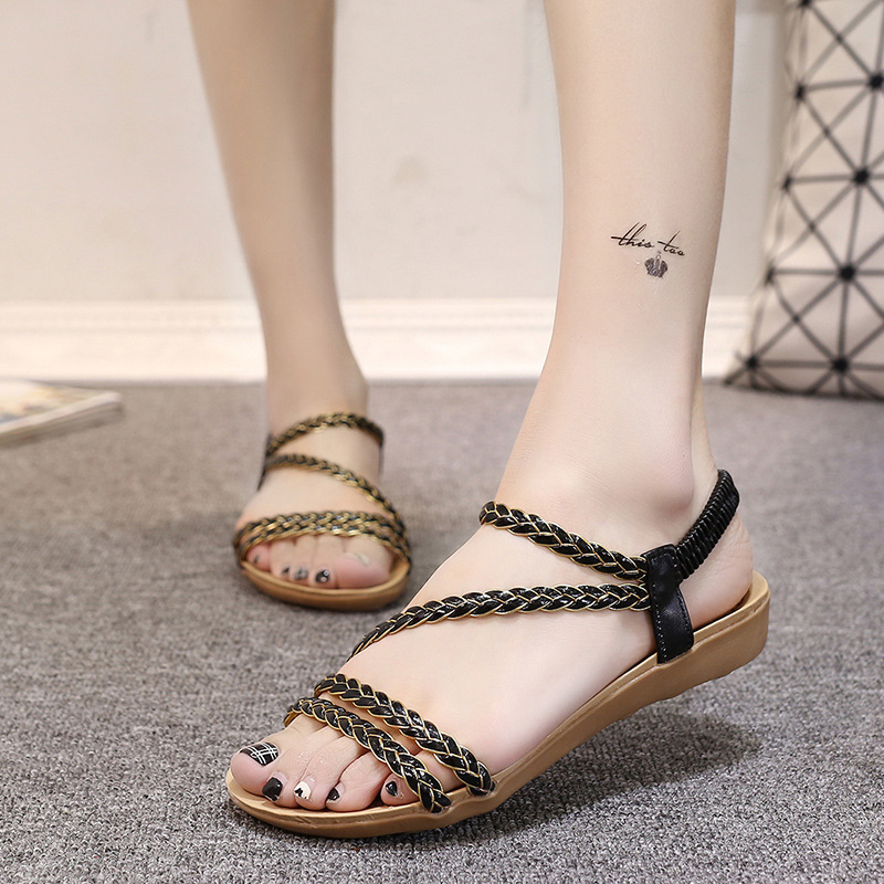 DreamShining Women Sandals Summer Shoes Summer Korean Fashion Fish Mouth Roman Shoes Braided Belt Flat Sandals Black Beige
