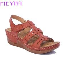 Купить с кэшбэком Wedges Shoes Women Sandals Platform Casual Soft Camel Narrow Band Lightweight Comfort Gladiator Summer Shoes Plus Size HEYIYI