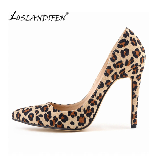 884ef4a1f9c1 Lady Classic sexy woman pointed heels spring leopard print pumps pump brand  wedding large size 35