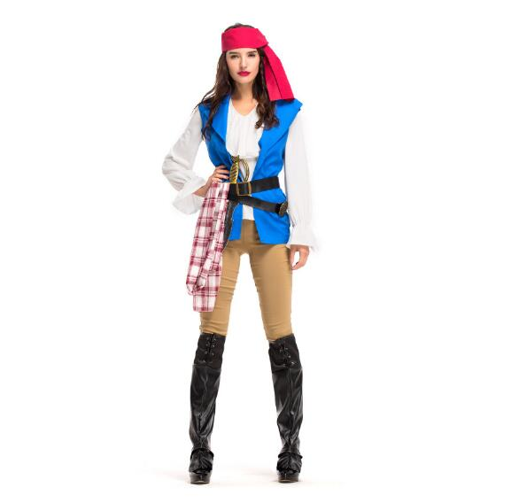 Halloween Women Adults Pirate Costumes Girls Knight Cavalier Clothing Caribbean Pirate Cosplay Dress