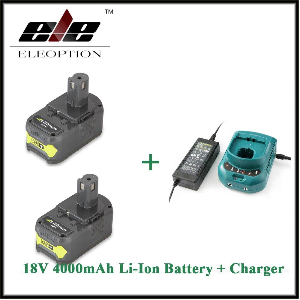 P108 ELEOPTION 2 PCS 18V 4000mAh Li Ion Rechargeable Battery Power Tool Battery For Ryobi RB18L40