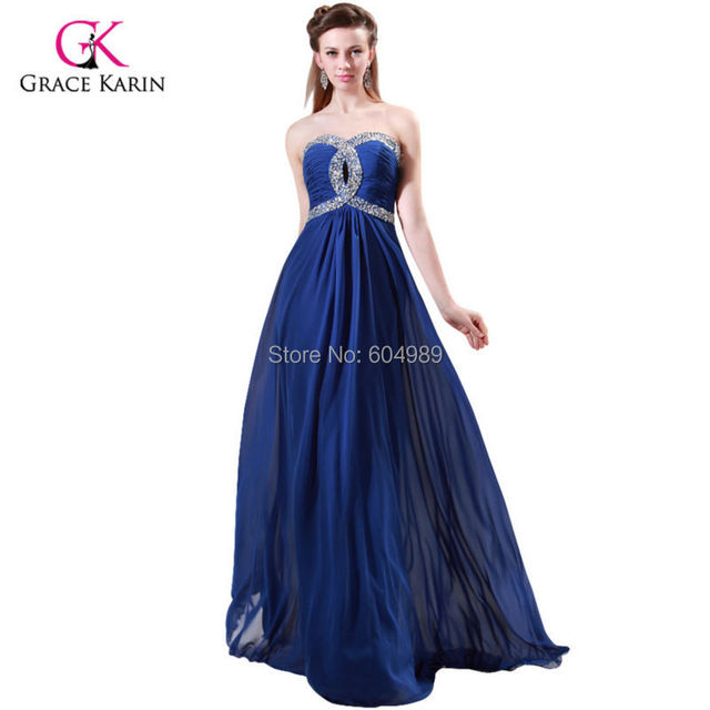 Fast delivery Grace Karin Blue Green rhinestone Prom Dresses under ...