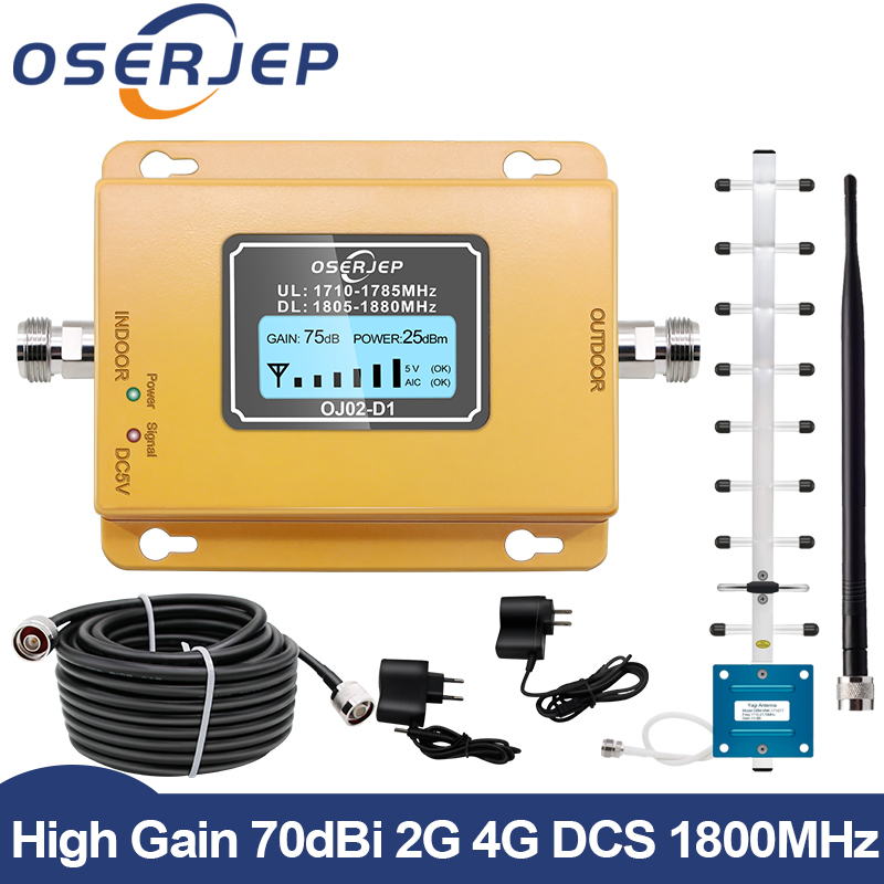 GSM LTE 1800 LCD 70dB 2g 4g Cell Phone Signal Repeater DCS 1800MHz Mobile Amplifier GSM