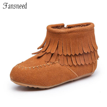 2017 new Children shoes girls shoes Cow Muscle sole tassel zipper boots genuine leather shoes