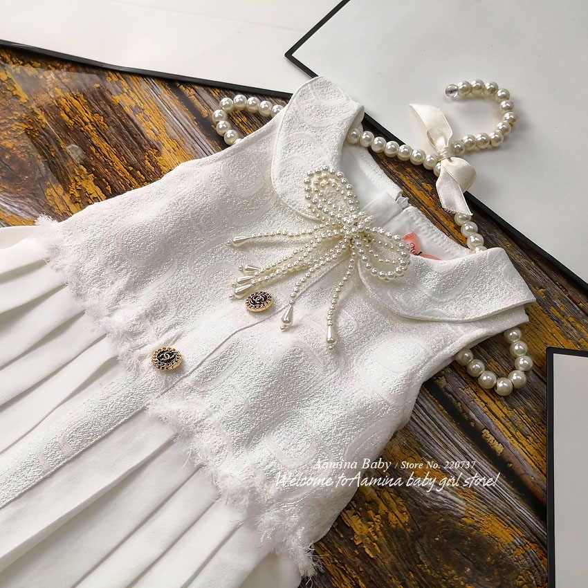 Коллекция 951266 года, рождественские платья принцессы с жемчужинами для маленьких девочек новое осенне-зимнее детское платье для девочек, оптовая продажа, одежда для маленьких девочек