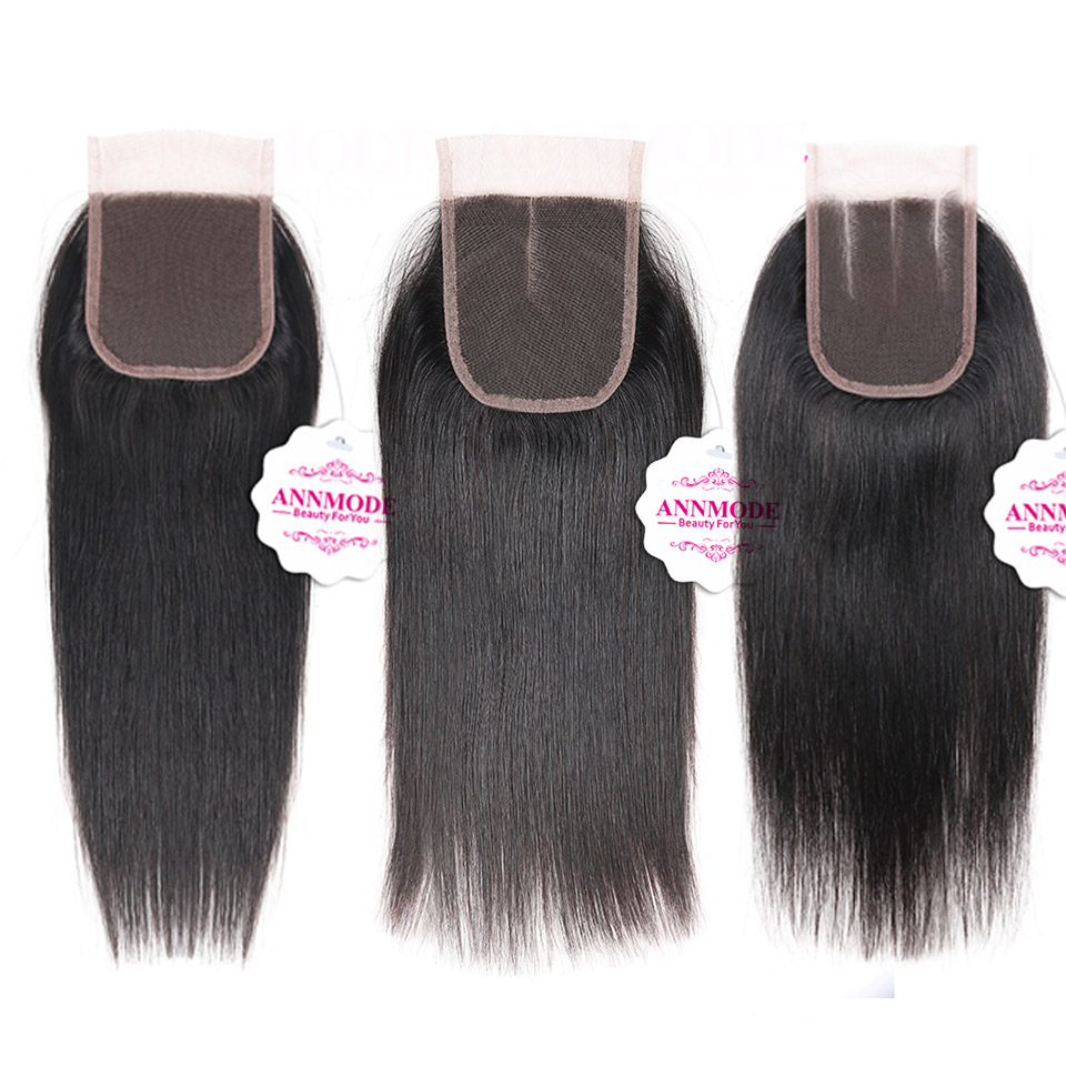 Annmode 4 Bundles Peruvian Straight Hair Weave Bundles With Closure Non Remy Human Hair Bundles With Lace Closure Natural Color