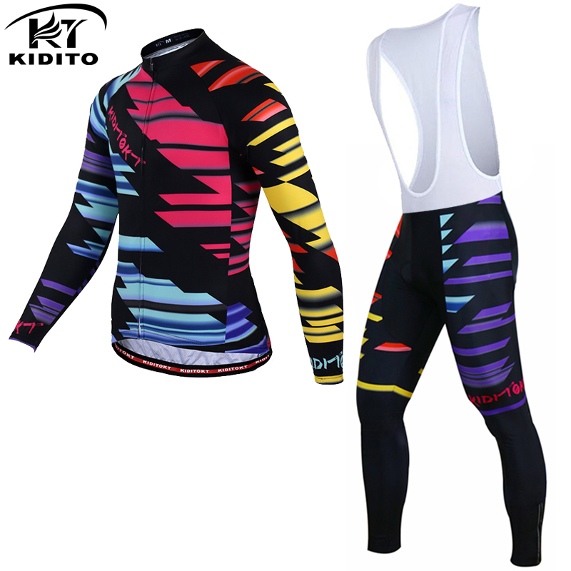 KIDITOKT 2017 Long sleeve Winter Cycling Jersey Set Thermal Fleece Bicycle Wear Bike Clothing Maillot Ciclismo Invierno black thermal fleece cycling clothing winter fleece long adequate quality cycling jersey bicycle clothing cc5081